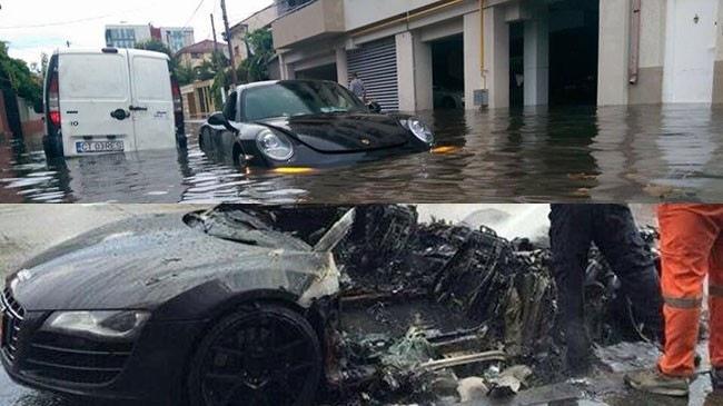 Porsche 911 ngập trong nước lũ, Audi R8 cháy rụi trong mưa